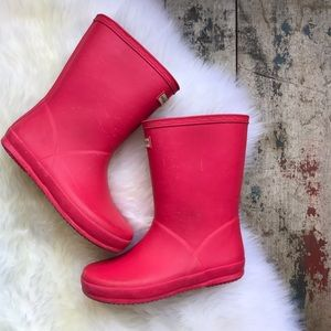HUNTER pink/coral boots sz 13 kids US GIRLS